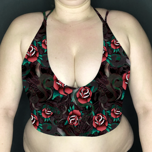 Snakes & Roses Deep Plunge Strappy Crop Top