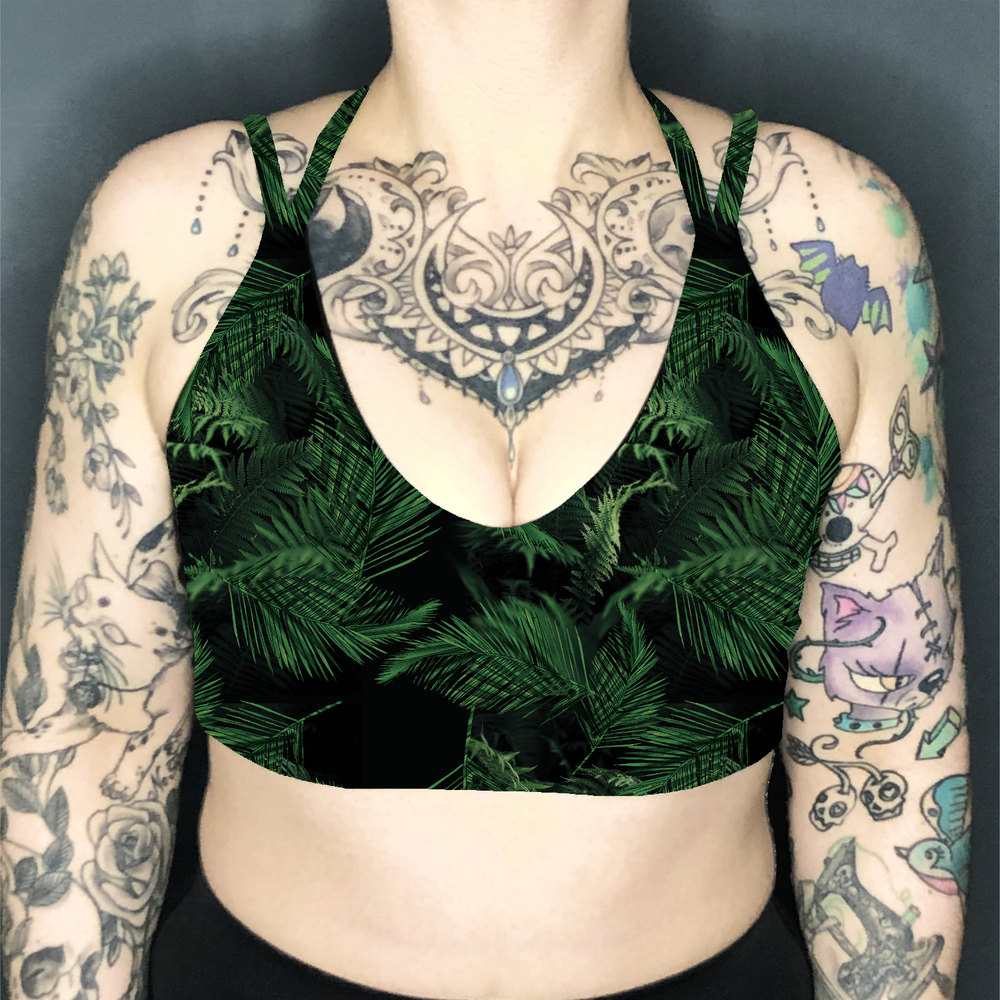 Image of Palms Deep Plunge Strappy Crop Top