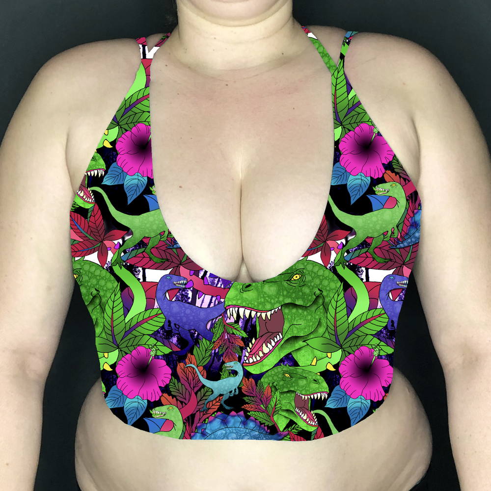 Image of Dinosaurs Deep Plunge Strappy Crop Top