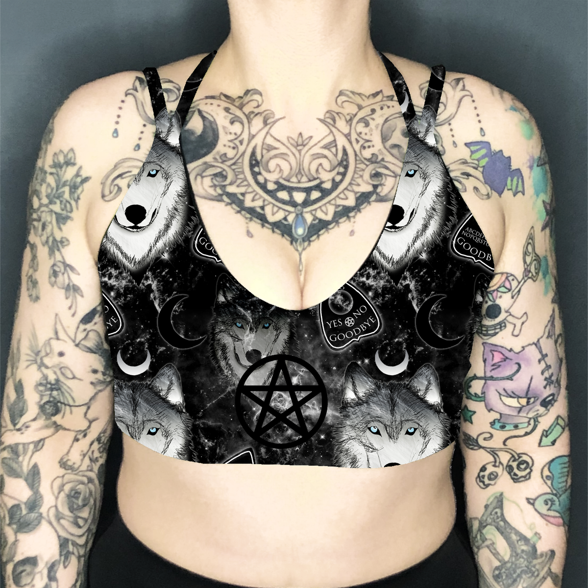 Image of Spirit Wolf Deep Plunge Strappy Crop Top