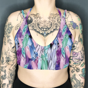 Image of Crystals Deep Plunge Strappy Crop Top