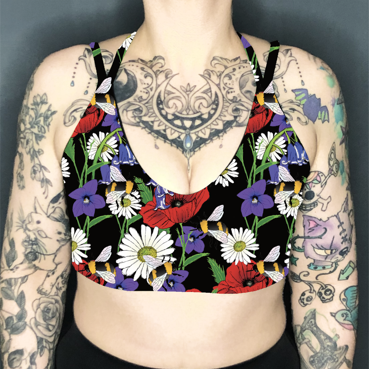 Image of Botanical Bees Deep Plunge Strappy Crop Top