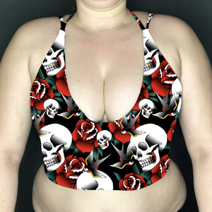 Image of Skulls & Roses Tattoo Deep Plunge Strappy Crop Top