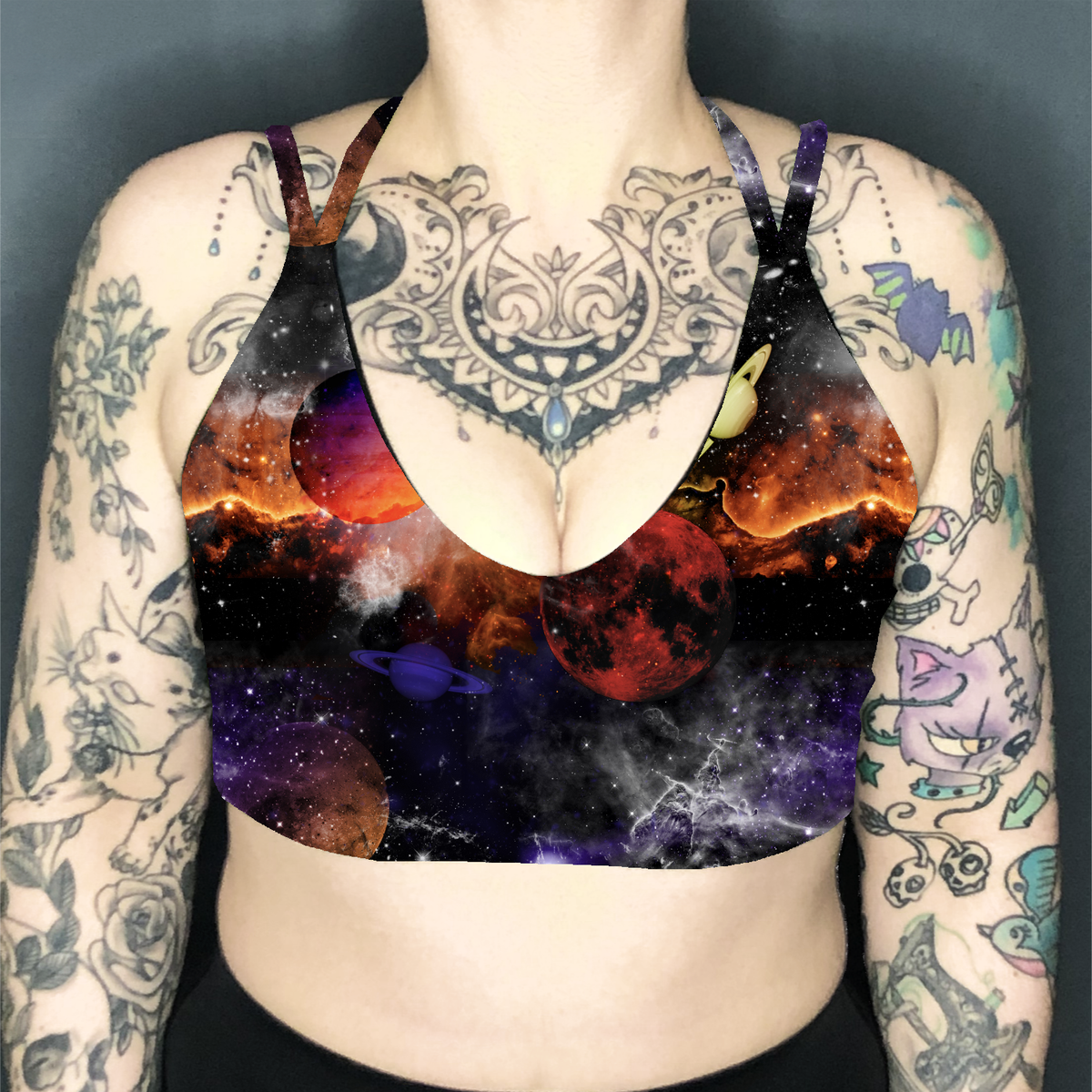 Image of Planet Space Deep Plunge Strappy Crop Top