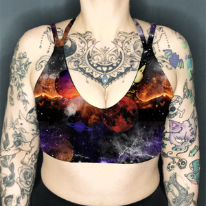 Planet Space Deep Plunge Strappy Crop Top