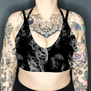 Image of Smoke Deep Plunge Strappy Crop Top