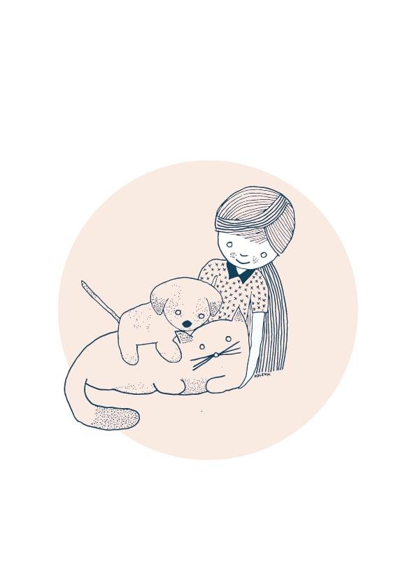 Image of Card Girl Cat Dog