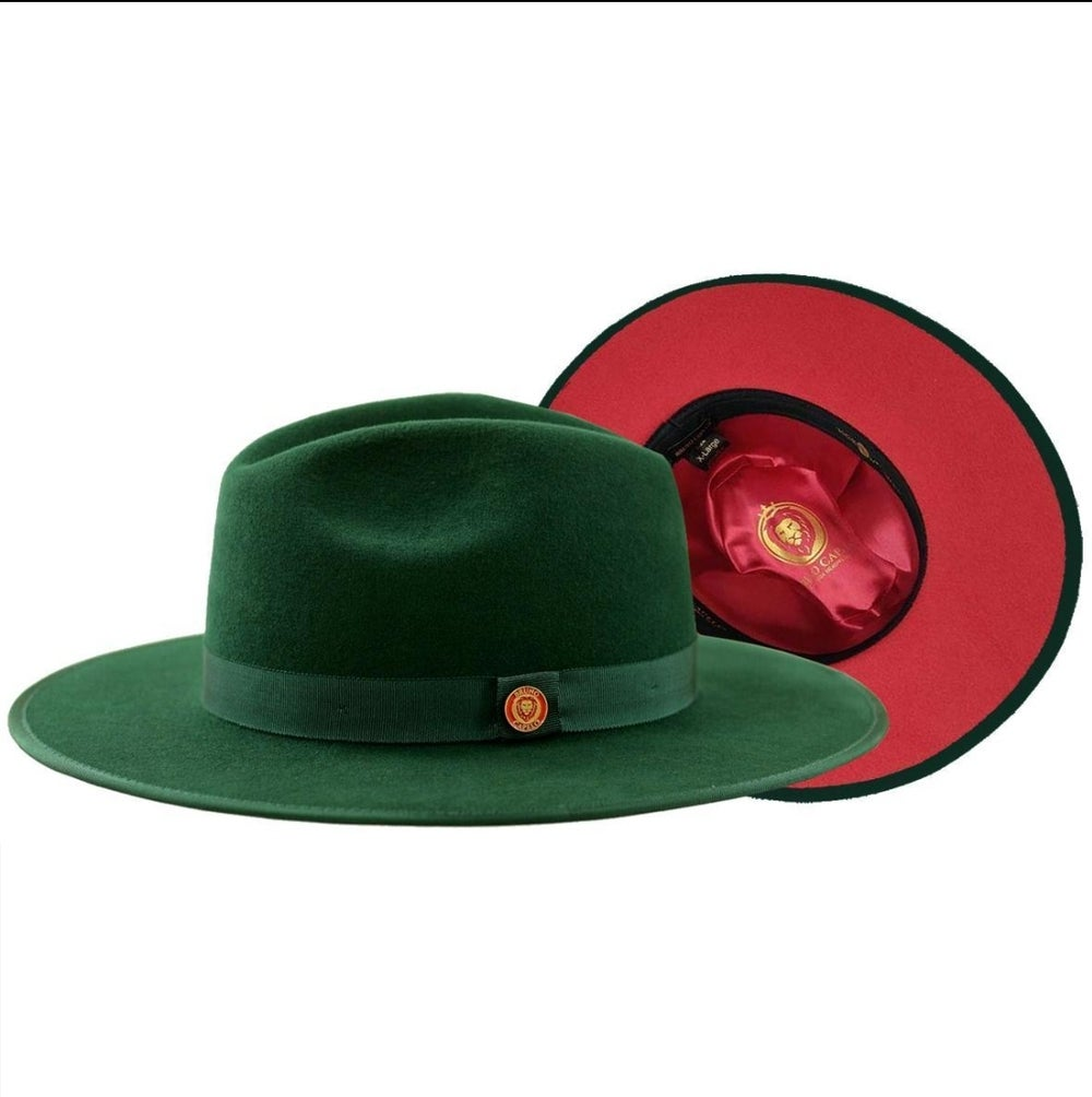 Image of Bruno Capelo Dark Green / Red Bottom Australian Wool Flat Brim Fedora Hat MO-201