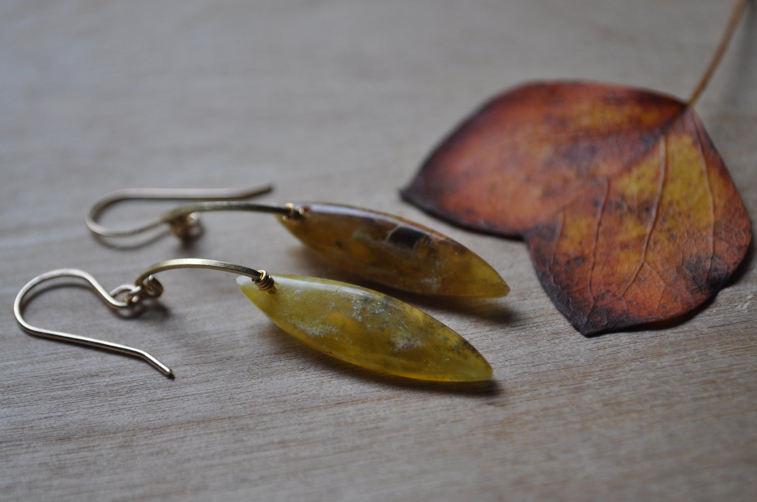 Image of One of a Kind Yellow Opal Marquise Arc Dangles