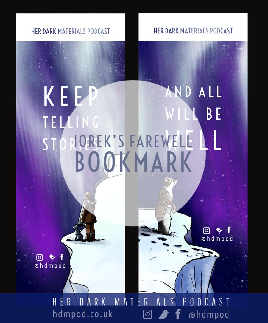 Image of Her Dark Materials Podcast Iorek's Farewell bookmark