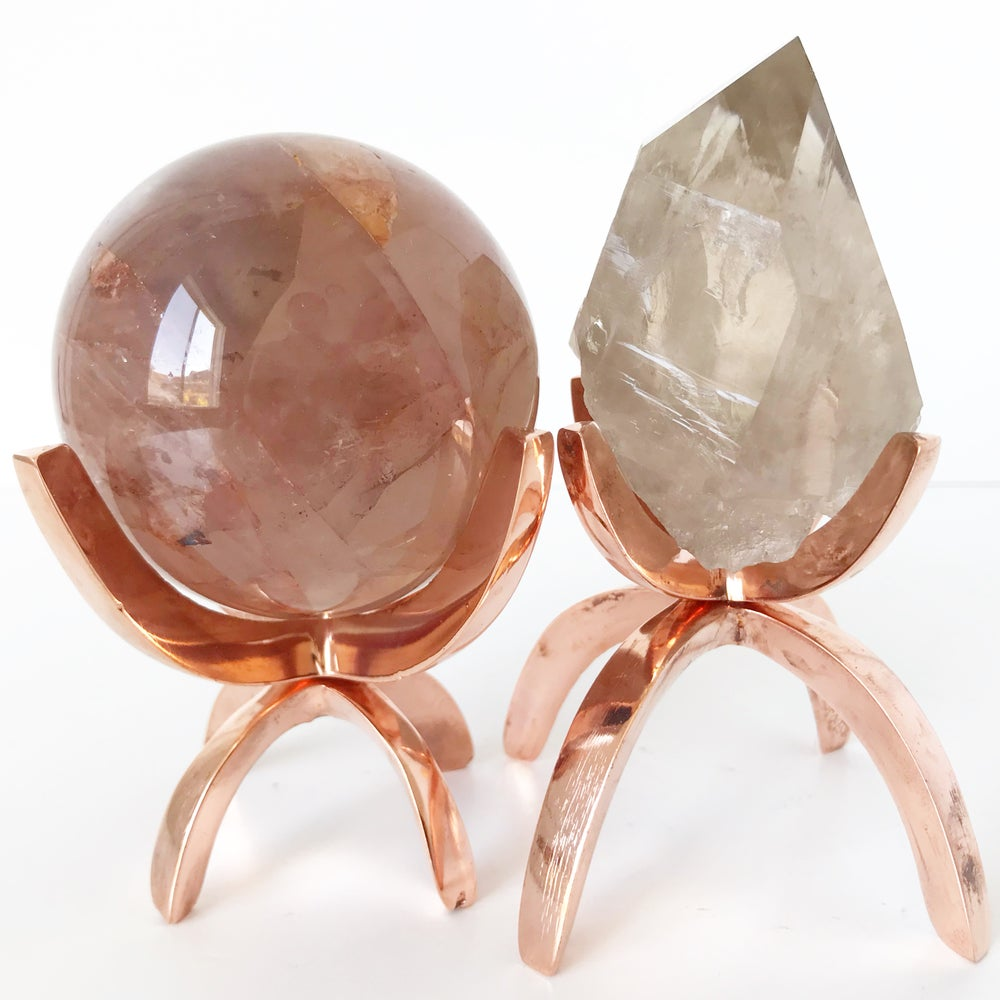 Image of Limited Edition Rose Gold Claw Mineral + Crystal + Stone Specimen Stand