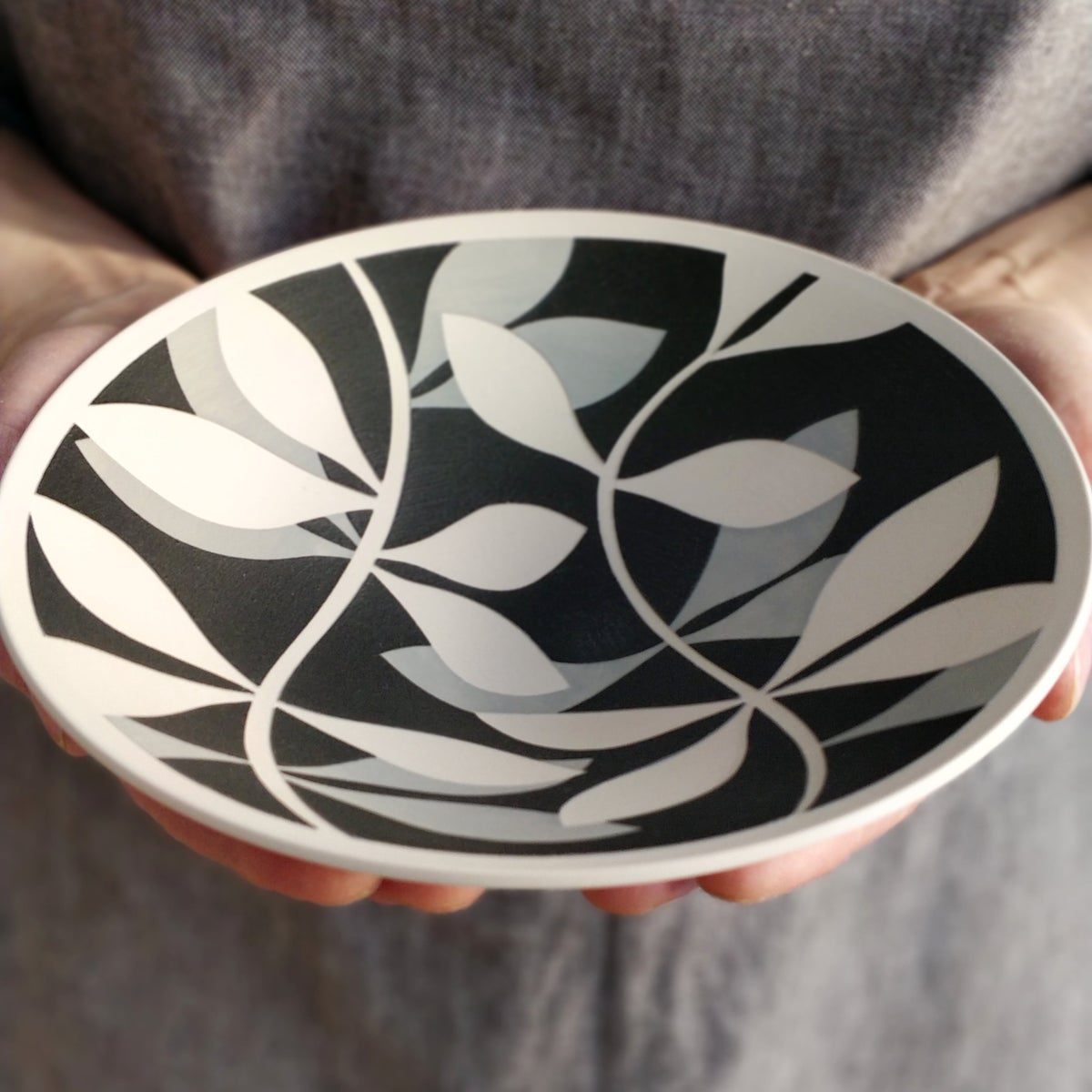 Image of Mini Black, Grey & White Leaf Bowl