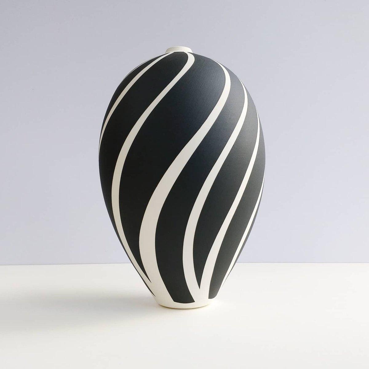 Image of Large Black & White Stripey Vessel