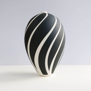 Image of Large Black & White Stripey Vessel