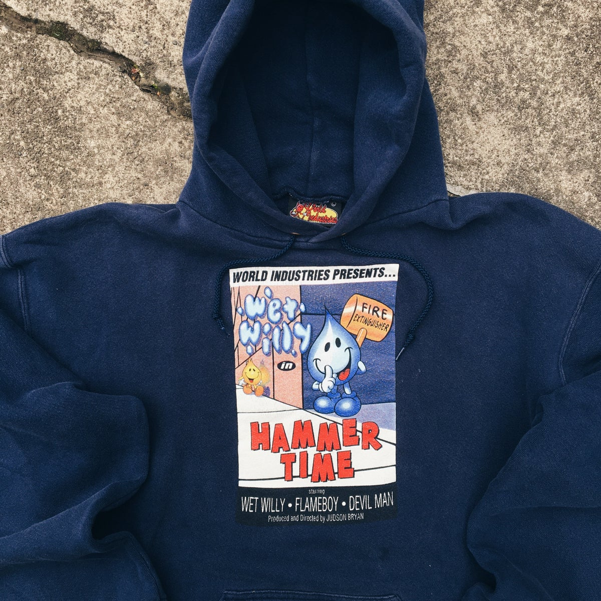 "Image of Original 90's World Industries ""Hammer Time"" Judson Bryan Hooded Sweatshirt."