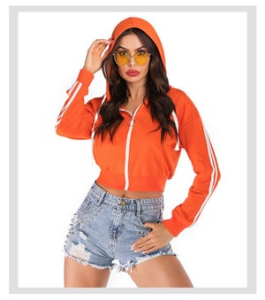 Image of GOOD VIBES CROP HOODIE ORANGE