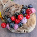 Lampwork bracelet with wild blueberry and clover