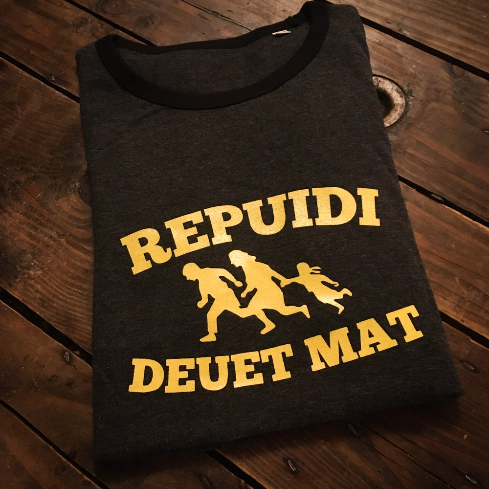 "Image of T-shirt ""Repuidi deuet mat"" (""Refugees Welcome"") gris chiné / noir"