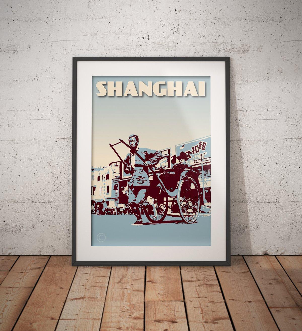 Image of Vintage Poster Shanghai - Chinese Rickshaw - Blue - Fine Art Print