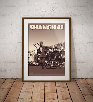 Image of Vintage Poster Shanghai - Chinese Rickshaw - Brown - Fine Art Print