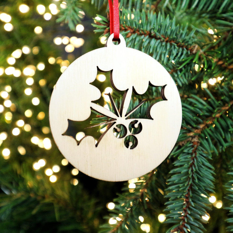 Image of Woodcut Holly Christmas Decoration