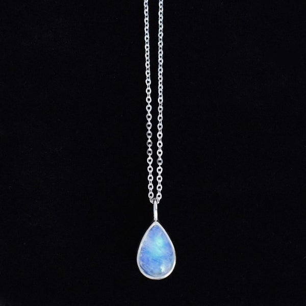 Image of Rainbow Moonstone water drop cabochon silver necklace
