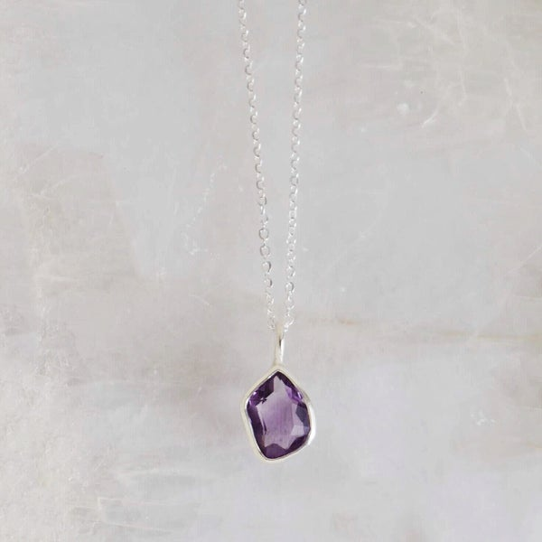 Image of Amethyst mixed cut silver necklace