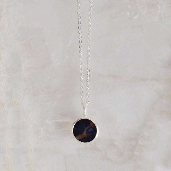 Image of Sodalite round flat cut silver necklace
