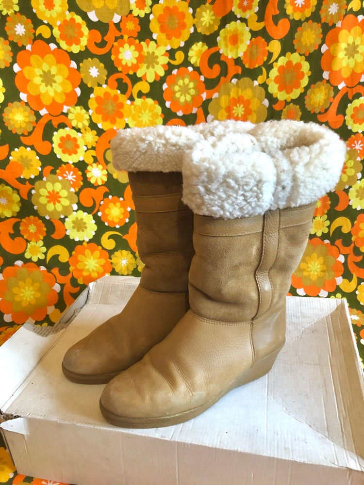 Image of Vintage 70s Sheepskin Shearling Tan Wedge Boots