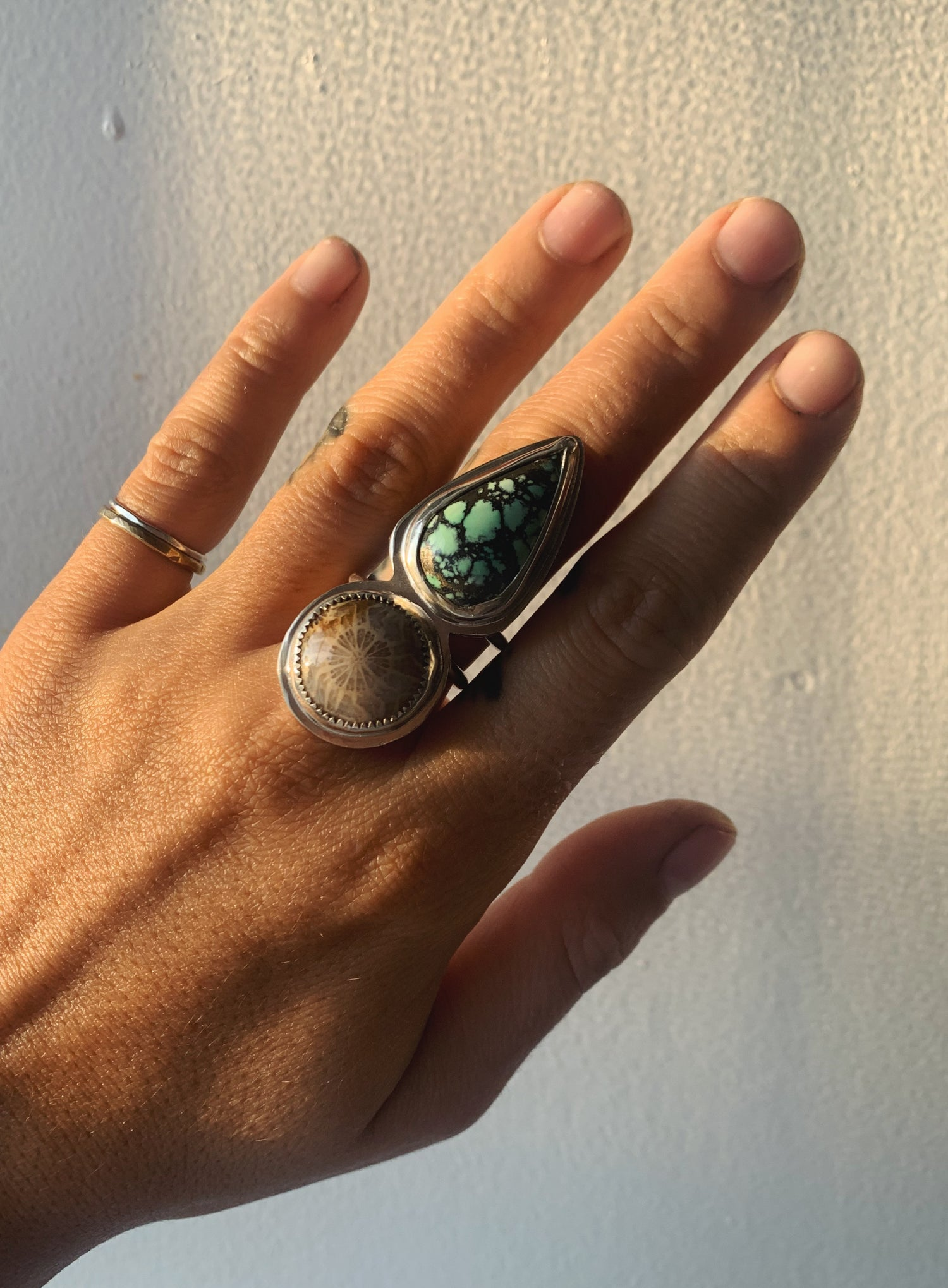 Image of Hubei Turquoise + Coral Ring
