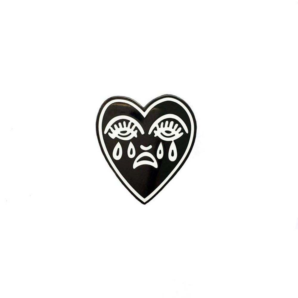 Image of Crying heart pin - Black