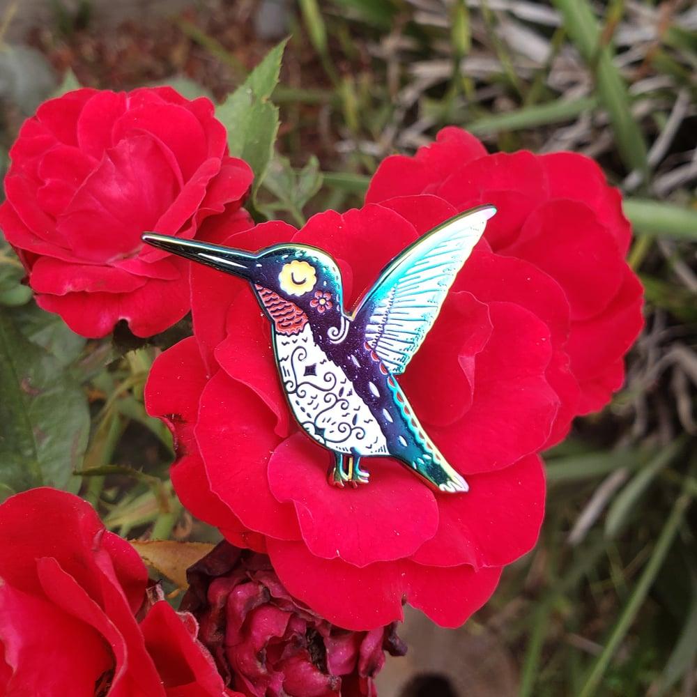 Rainbow Plated Hummingbird Enamel Pin