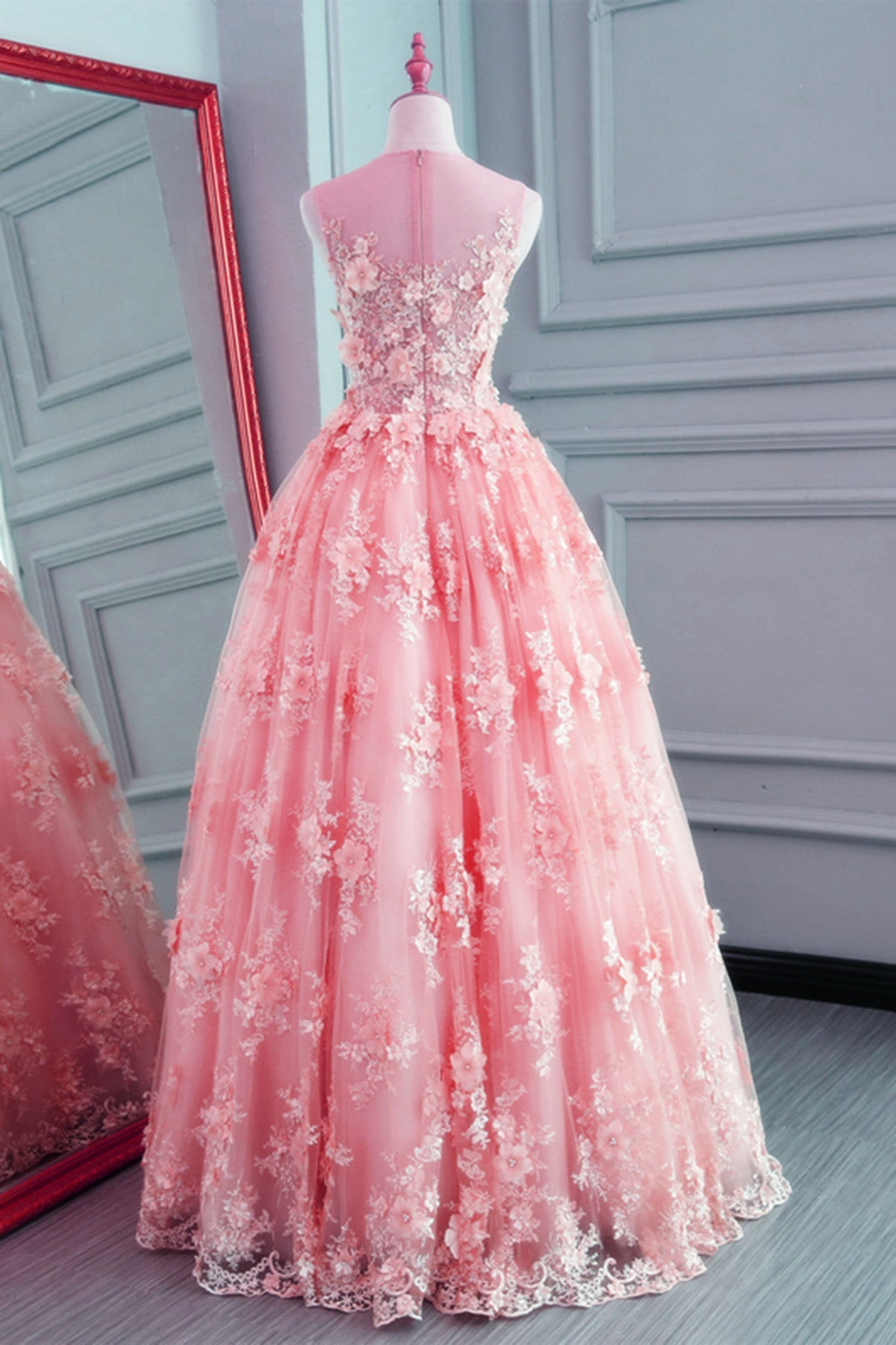 Pink Lace Organza Tulle Round Neckline Long Party Dress, Junior Prom Dress