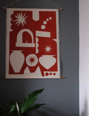 Linen Wall Hanging in Italy print - Terracotta