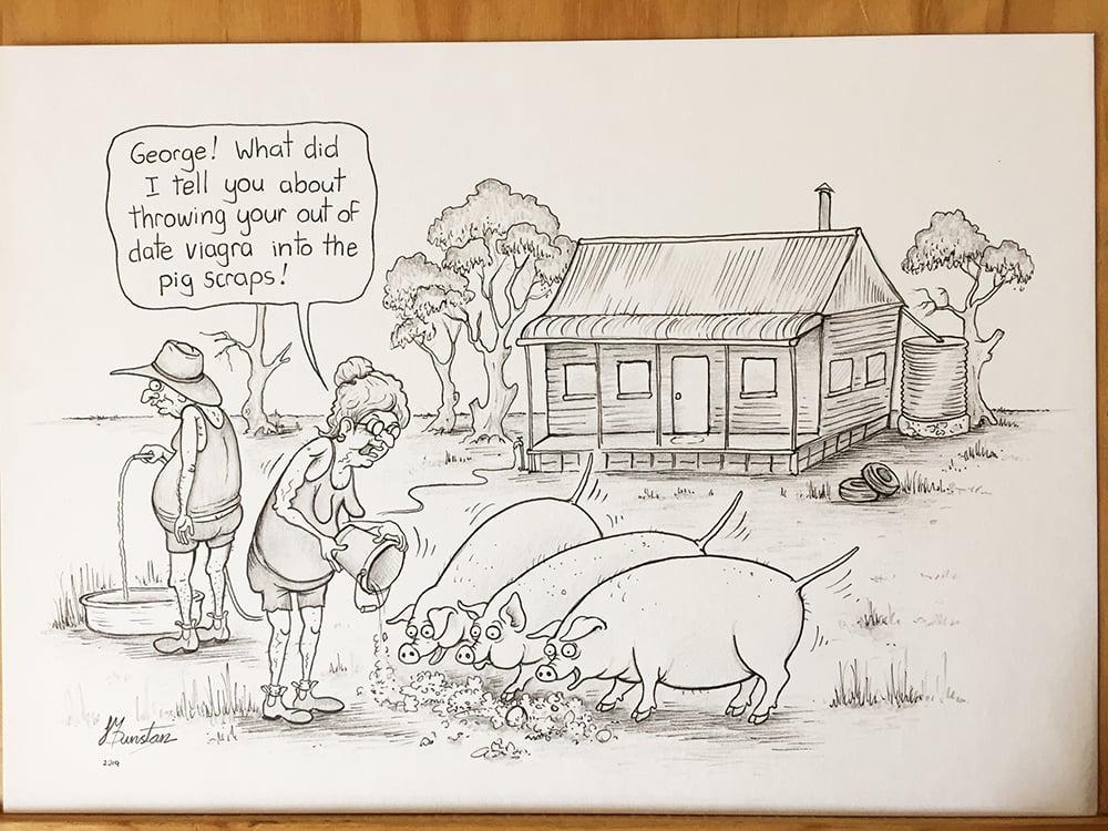 Image of Pigs on Viagra. -Original drawing