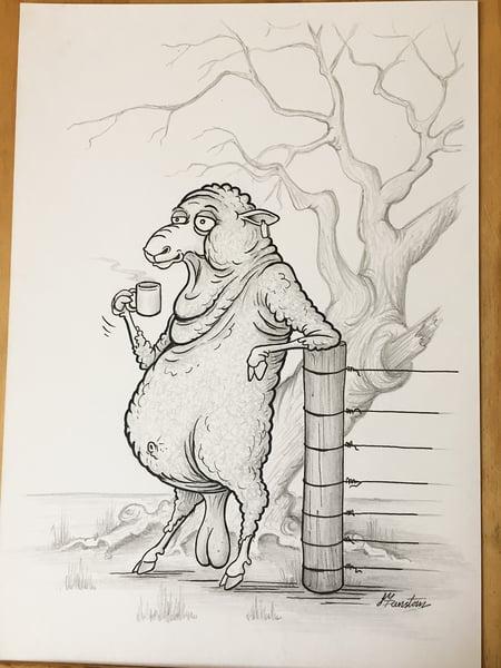 Image of Ram On Smoko. -Original drawing