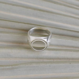 Image of 'White Moon' silver signet ring