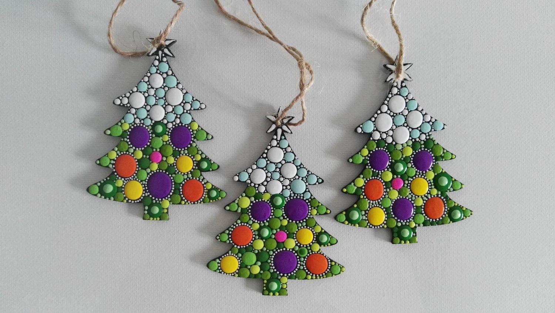 Image of (Number 22). New Christmas tree ornaments - Dot art Christmas decor. Set of 3.