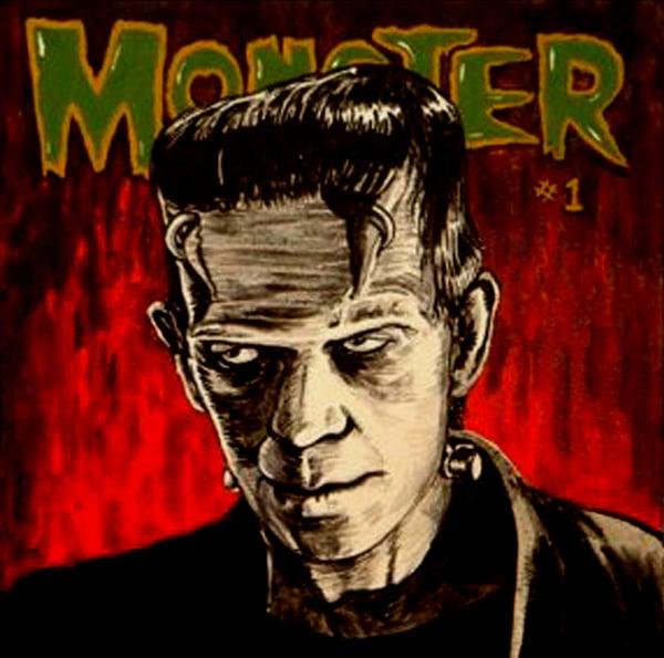 """Image of """"MONSTER"""" signed Giclee Boris Karloff as Frankenstein's Monster"""