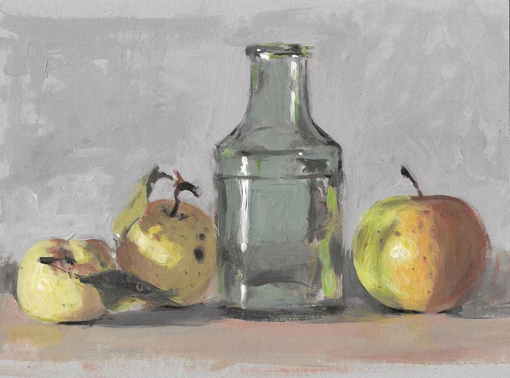 Image of Small Vase with Apples (Original)