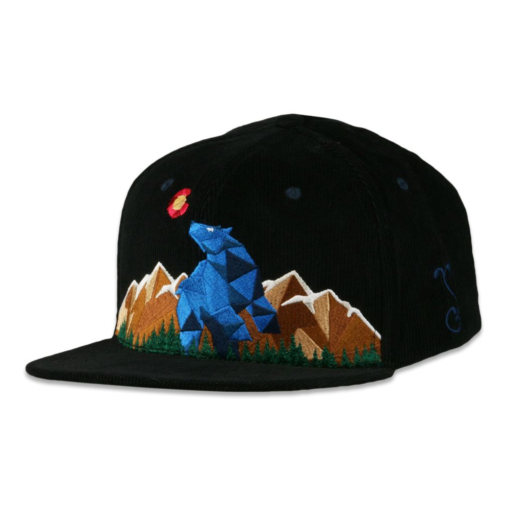Image of NEW GRASSROOTS BLUE BEAR BLACK CORDUROY SNAPBACK HAT