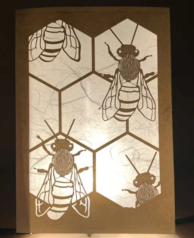 Image of Bees Luminaria Note Card