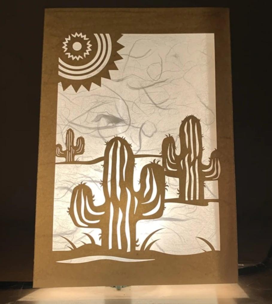Image of Saguaro Cactus Luminaria Note Card
