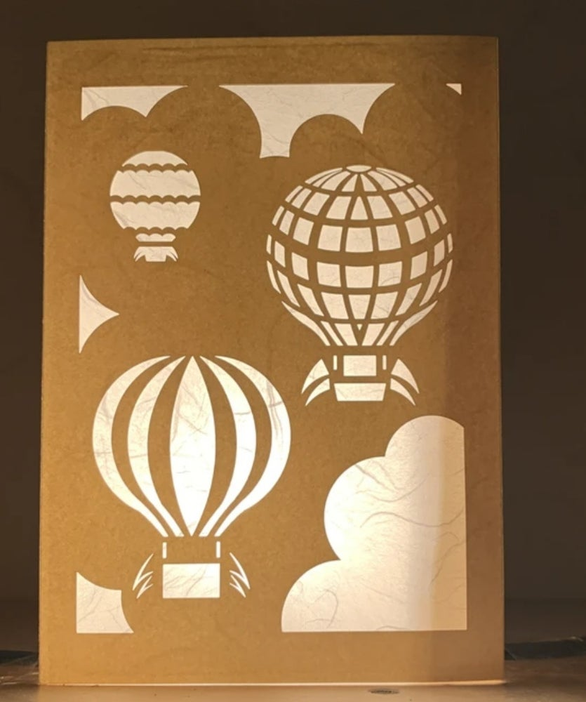 Image of Three hot air balloon Luminaria Note Card