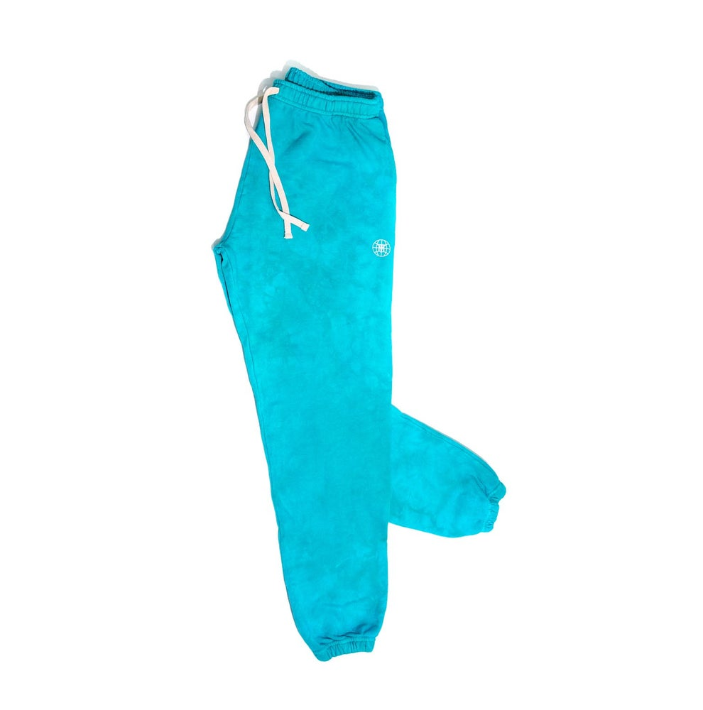 Image of Small Face Globe Sweatpants- Teal