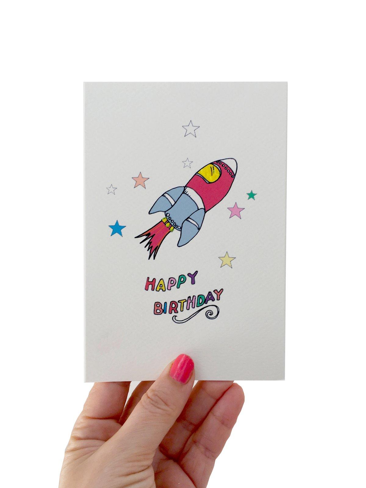 Rocket Stars Birthday Card