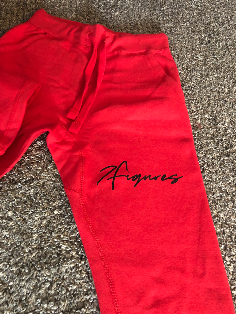 "Image of 7 Figures ""Script"" Unisex Joggers Red/Black"
