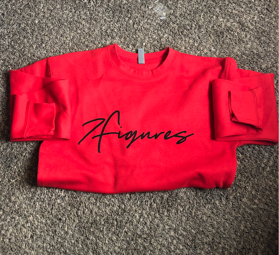 "Image of 7 Figures ""Script"" Unisex Crewneck Red/Black"