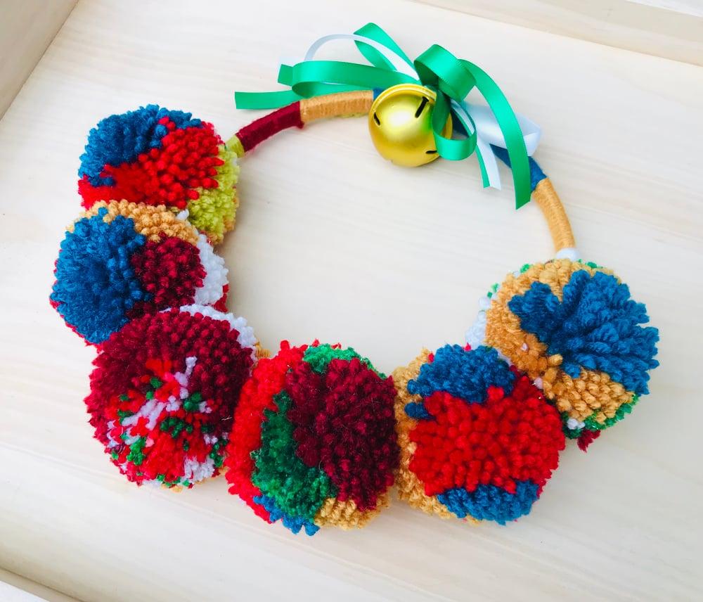 Pom Pom Christmas Wreath