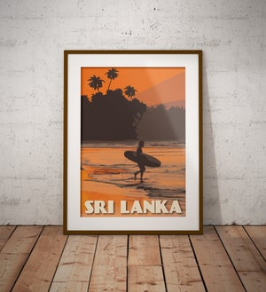 Image of Vintage Poster Sri Lanka - Surfer on the Beach - Orange - Fine Art Print